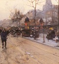 Loir Luigi A Parisian Street Scene With Sacre Coeur In The