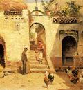 Garcia Y Rodriguez Manuel Feeding Poultry In A Courtyard