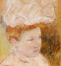 Cassatt Mary Leontine in a Pink Fluffy Hat