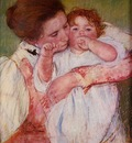 Cassatt Mary Little Ann Sucking Her Finger Embraced by Her Mother