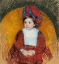 Cassatt Mary Margot in a Dark Red Costume Seated on a Round Backed Chair