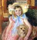 Cassatt Mary Sara in a Large Flowered Hat Looking Right Holding Her Dog