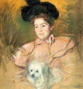 Cassatt Mary Woman in Raspberry Costume Holding a Dog