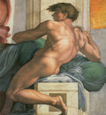 Michelangelo Sistine Chapel Ceiling Ignudi next to Separation of Land and the Persian Sybil
