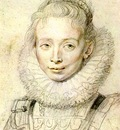 Rubens Portrait of a Chambermaid Chalk