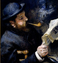 Renoir Pierre August Claude Monet Reading A Newspaper