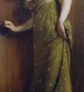 Carrier Belleuse Pierre Elegant Woman In A Green Dress