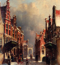 Vertin Petrus Gerardus A Town View In Winter With Figures Conversing On Porches
