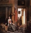 HOOCH Pieter de Mother Lacing Her Bodice beside a Cradle