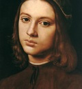 perugino pietro portrait of a young man detail