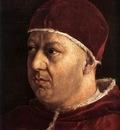 Raphael Pope Leo X with Cardinals Giulio de Medici and Luigi de Rossi detail1
