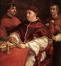 Raphael Pope Leo X with Cardinals Giulio de Medici and Luigi de Rossi