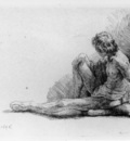 Nude Man Seated on the Ground with One Leg Extended WGA