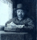 Rembrandt drawing at a window RJM