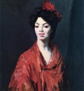 Henri Robert Spanish Woman in a Red Shawl