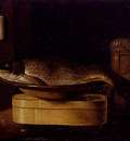 Stoskopff Sebastien Still Life Of A carp In A Bowl Placed On A Wooden Box