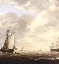 VLIEGER Simon de A Dutch Man Of War And Various Vessels In A Breeze