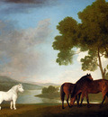 Stubbs George Two Bay Mares And A Grey Pony In A Landscape