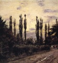 Steele Theodore Clement Evening Poplars and Roadway near Schleissheim