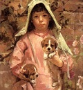 Robinson Theodore Girl with Puppies