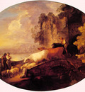 River Landscape with Rustic Lovers