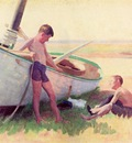 Anschutz Thomas P Two Boys by a Boat Near Cape May