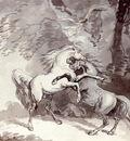 Rowlandson Thomas Horses Fighting On A Woodland Path
