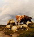Cooper Thomas Sidney A Cow And Sheep On The Cliffs