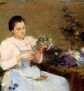 Gilbert Victor Arranging Flowers For A Spring Bouquet