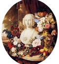 Sartorius Virginie De A Still Life With Assorted Flowers Fruit And A Marble Bust Of A Woman