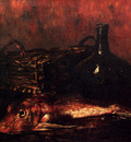 Vollon Antoine A Still Life With A Fish A Bottle And A Wicker Basket