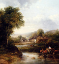 Watts frederick Waters An Extensive River Landscape With A Drover In A Cart With His Cattle