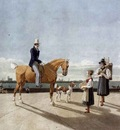 KOBELL Wilhelm von Gentleman On Horseback And Country Girl On The Banks Of The Isar Near Munich