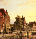 Koekkoek Willem Figures By A Canal In A Dutch Town
