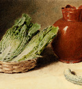 Hunt William Henry Still Life With A Jug A Cabbage In A Basket And A Gherkin