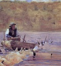 Homer Winslow Man in a Punt Fishing