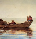Homer Winslow Three Boys in a Dory with Lobster Pots