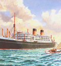 """The Shaw Saville Line Dominion Monarch leaving Auckland. The """"A"""" Class yacht, Ranger, beating up harbour."""