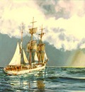 The barque Clan Macleod shortening sail for a squall.