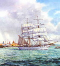 The barque James Craig making sail off Queen's Wharf in the Waitemata, Auckland.