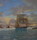 The barque Quathlamba.  Sunset departure from Auckland.
