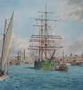 The barque Rothesay Bay leaving Auckland (circa 1900).