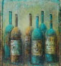 Faded Labels N3 50 x 50 in, mixed media on canvas