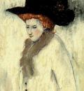 Paul Gosselin  -  Lady  with a black hat - Impressionism