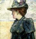 Paul Gosselin  - Lady in blue -  impressionism