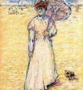 Paul Gosselin  -  Pointillism - Lady on the beach