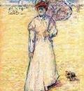 Paul Gosselin  -  Pointillism - Lady on the beach